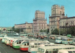 MINSK-PLACE DE LA GARE- Belarus Minsk Railway Terminal Square Old Postcard -F.G - Bielorussia