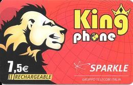 CARTE-PREPAYEE-SPARKLE-7,5€-RECHARGEABLE-KINGPHONE-LION-31/12/2009-R° BRILLANT--N°Série 12N° Collés-TBE - France