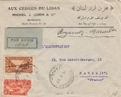LIBAN - LETTRE PAR AVION AUX CÈDRES DU LIBAN BEYROUTH 6.1.1933 POUR PARIS   /2 - Libanon