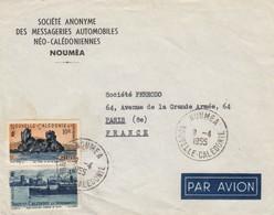 NOUVELLE CALÉDONIE - LETTRE PAR AVION S.A. MESSAGERIES AUTOMOBILES NOUMÉA 9.4.1955 POUR PARIS    /2 - Cartas