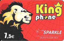 CARTE-PREPAYEE-SPARKLE-7,5€-KINGPHONE-LION-31/12/2008-R° BRILLANT-V°-N°Série En Bas Fin-4/3/5--TBE - France