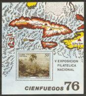 1976 Mi# Block 48 ** MNH - Painting / Landscape, By F. Cadava / Map - Cuba
