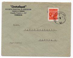 1949 YUGOSLAVIA, SLOVENIA, TPO TRST-LJUBLJANA, TRIESTE TO BELGRADE, COMPANY'S CVER - Covers & Documents