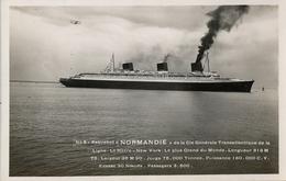 """1936 BARCOS / SHIPS , TARJETA POSTAL  NO CIRCULADA , PAQUEBOT """" NORMANDIE """" , C. GÉNÉRALE TRANSATLANTIQUE - Paquebots"""