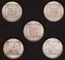LOT 10 FRANCS 1930 1931 1932 1933 1934 FRANCE Turin - Argent / Silver - 5 Pcs - France