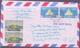 BUDDISM - BURMA / MYANMAR - 1959 - BUDDHA TEMPLES  4OP AND 60P PAIR ON  AIRMAIL COVER  TO PHILADELPHIA  USA - Buddhism
