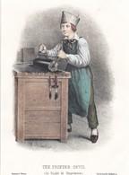 LITHOGRAPHIE .LE DIABLE DE L IMPRIMERIE ..CH DE SAILLET IMP CASTILLE EDITEUR DESESSERT - Lithographies