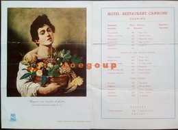 Menu Hotel Restaurant Cannone Cassino Italia 1961 Picture Caravaggio - Menu
