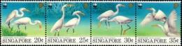 WATER BIRDS- CHINESE EGRETS-SETENANT OF 4-WWF- SINGAPORE-SCARCE- MNH-B9-800 - Grues Et Gruiformes