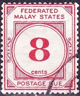 MALAYA POSTAL UNION 1936 8c Scarlet Postage Due SGD3 Fine Used - Malayan Postal Union