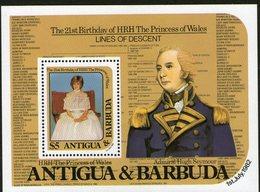 ANTIGUA/BARBUDA, 1982 DIANAS BIRTHDAY MINISHEET MNH - Antigua En Barbuda (1981-...)