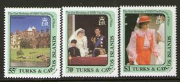 TURKS/CAICOS 1982 PRINCESS DIANA 3 MNH - Turks & Caicos