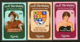 NEVIS, 1982 PRINCESS DIANA 3 MNH - St.Christopher-Nevis-Anguilla (...-1980)