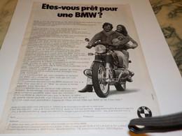 ANCIENNE PUBLICITE MOTO ETES VOUS PRET POUR UNE BMW 1977 - Motos