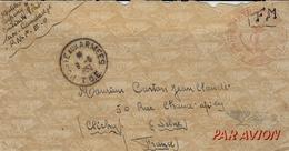 1952- Lettre Du Cambodge En F M Avec : MARINE PATROUILLE DES LACS  ( Taille ) - Naval Post