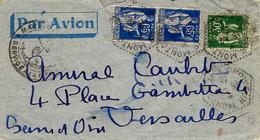 1938 - Lettre PAR AVION Affr. PAIX à 1,60 Fr Oblit. Agence Postale CROISEUR MONTCALM - Marcophilie (Lettres)