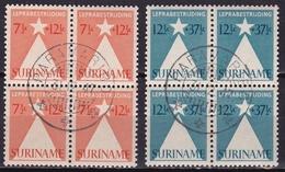 Suriname 1947 Leprazegels Complete Gestempelde Serie NVPH 247 /248 In Blokken Van 4 - Suriname ... - 1975