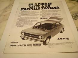 ANCIENNE  PUBLICITE VOITURE ZASTAVA 1977 - Voitures