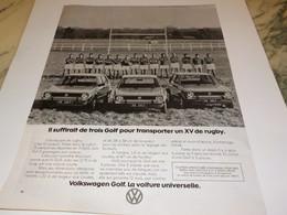 ANCIENNE  PUBLICITE VOITURE GOLF DE WOLKSWAGEN 1977 - Voitures