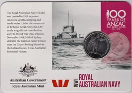 Australia 2015 ANZAC 100 Years - WW1  Royal Australian Navy Uncirculated 20c - Decimal Coinage (1966-...)