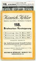 132. Köhler Briefmarken Auktion 1951 - Seltener Auktionskatalog Mit Den Bildtafeln - Auktionskataloge