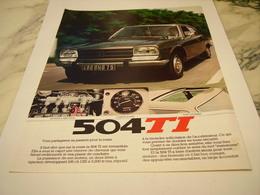 ANCIENNE PUBLICITE  504  TI DE PEUGEOT  1977 - Voitures