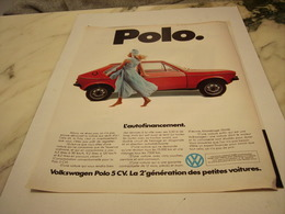 ANCIENNE PUBLICITE  VOITURE VOLKSWAGEN POLO 1977 - Voitures
