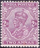 INDIA 1911 KGV 2 Anna Purple SG166MH - 1911-35 King George V
