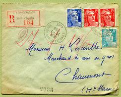 LONGCHAMP-SUR-AUJON  (52) : LETTRE RECOMMANDEE  1950 - Marcophilie (Lettres)