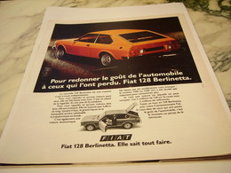 ANCIENNE PUBLICITE VOITURE 128 BERLINETTA  DE FIAT 1975 - Voitures