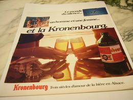 ANCIENNE  PUBLICITE SILENCE HOMME FEMME   KRONENBOURG 1975 - Posters