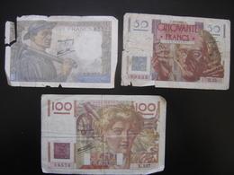 Lot N°2 Billet MINEUR 10 Francs LE VERRIER 50 Francs PAYSAN 100 Francs De 1946 - 1871-1952 Anciens Francs Circulés Au XXème