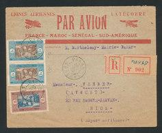 SENEGAL - Lettre Recommandée Avion Lignes Latécoère DAKAR Pour NICE 23/2/1927 - Lettres & Documents