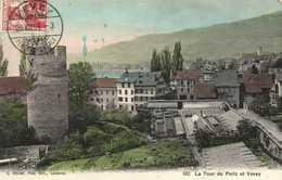 La Tour De Pellz Et Vevey Colrisée + Timbre RV Cachet Hotel Du Lac Vevey - VD Vaud