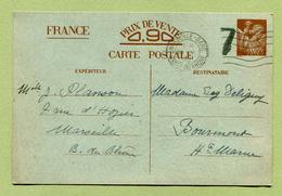 """Type Ir H1 A : """" ENTIER POSTAL INTERZONES """" De MARSEILLE (1941) Pour BOURMONT - Enteros Postales"""