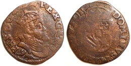 FRANCE - PAYS-BAS ESPAGNOLS - Philippe II - Liard Arras 1591 (VH 323-AR). - 476-1789 Monnaies Seigneuriales