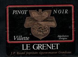 Etiquette De Vin // Pinot Noir De Villette, Vaud, Suisse - Etiquettes
