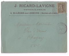 1908 - Lettre à Entête - Saint-Léger-sur-Dheune (Saône-et-Loire) - Viticulteur Ricard-Lavigne - FRANCO DE PORT - Agriculture