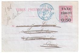 PARIS 36 Bard Voltaire Entier Pneumatique Enveloppe 60c Chaplain Surcharge TAXE REDUITE à 0,50 Yv 2757 Ob 1897 - Pneumatiques