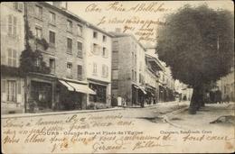 Cp Cours Rhône, Grande Rue Et Place De L'Eglise, Geschäfte - France