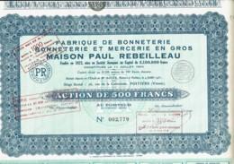 86-FABRIQUE DE BONNETERIE. BONNETERIE ET MERCERIE EN GROS. MAISON PAUL REBEILLEAU. POITIERS - Shareholdings