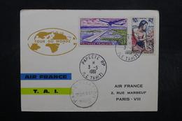 POLYNÉSIE - Enveloppe Ilustrée Par Avion De Paris Pour Papeete En 1961 Et Retour , Affranchissement Plaisant - L 32503 - Polynésie Française