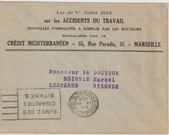 Lettre Marseille St Ferreol Pour La Gironde Flier 1938 Avec PP Dans La Couronne - 1921-1960: Période Moderne