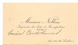 Visitekaartje - Carte Visite - Ingénieur Des Arts Maurice Nablom - Bruxelles - Cartes De Visite