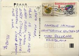 Czechoslovakia Postcard - Motive Stamp - 1984 Olympic Games, Los Angeles - Cycling.bike - Brieven En Documenten