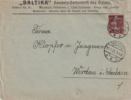 MEMEL 1921 LETTRE POUR WERDAU - Memel (Klaïpeda)