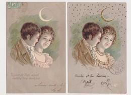 7 Cartes Fantaisie Gaufrées / Couple Amoureux , Croissant De Lune - Couples