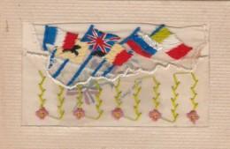 """B16- CARTE BRODEE A RABAT AVEC MNI CARTE EN CELLULOID """" TOUS UNIS """" PATRIOTIQUE - DRAPEAUX EUROPEENS  - (3 SCANS) - Embroidered"""