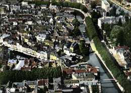 CPSM Grand Format  MONTARGIS (Loiret) Vue Generale Aérienne Les Bords Du Canal Colorisée RV Combier - Montargis