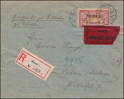 28 Aufdruckmarke 2 M Auf 1 Fr Eil-R-Brief MEMEL 18.10.20 Nach Löbau, Altprüfung - Memelgebiet